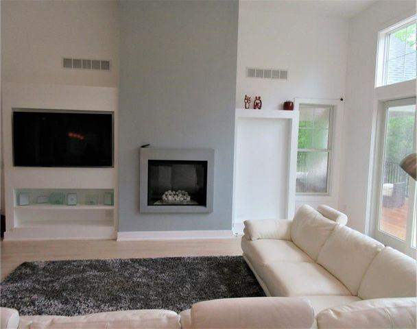 Living room of home with fireplace