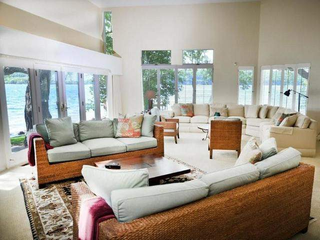 Living room with view of water